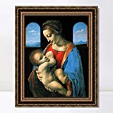 INVIN ART Framed Canvas Art Giclee Print The Madonna and Child by Leonardo da Vinci Wall Art Living Room Home Office Decorations(Vintage Embossed Gold frame,20'x24')