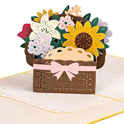 PaperCrush® Pop-Up Karte Bunter Blumenkorb [NEU!] - Besondere 3D Blumenkarte für Freundin oder Mutter (Geburtstagskarte, Runder Geburtstag, Muttertag, Dankeschön) - Popup Glückwunschkarte mit Blumen