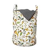 ABAKUHAUS Bellota Bolsa de lavandería, Setas bayas del acebo, Cesta con asas Cierre de cordón para las lavanderías, 33 x 33 x 49 cm, Multicolor