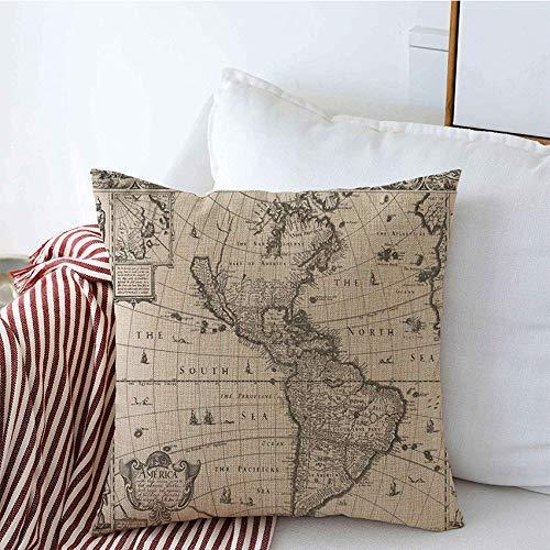 GWrix Coussin décoratif Couvre Voyage Transport Nous 1626 Antique Main Ouest Carte frontière Alaska Nord sud Zone Objets Vintage carré taie d'oreiller pour canapé canapé