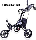 Trolley- Plegable Golf 3 Ruedas De Empuje Automático De Extracción del Carro De Golf Freno con El Bolso/Paragüero Caddie De Golf Un Segundo para Abrir O Cerrar Automática