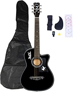 """Festnight 38"""" Acoustic Guitar with Guitar Picks String LCD Tuner Pickguard Set and Carrying Bag Basswood Cutaway Guitar for Beginner/Kids/Boys/Girls/Junior/Adult/Children/Youth/Professional"""