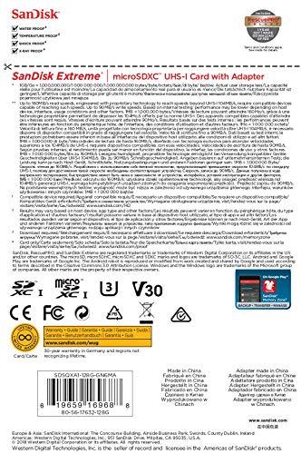 SanDisk 128GB Extreme microSDXC UHS-I Memory Card with Adapter - C10, U3, V30, 4K, A2, Micro SD - SDSQXA1-128G-GN6MA