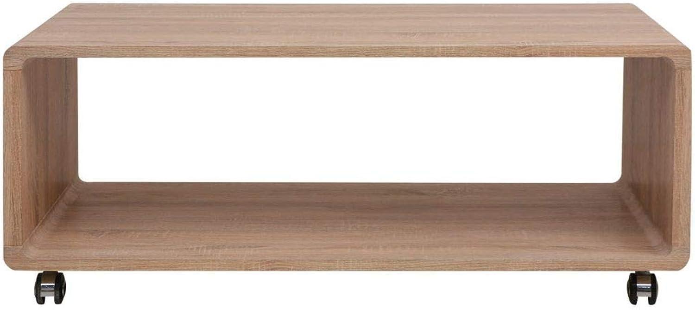 Tidyard- Hochglanz Couchtisch Kaffeetisch mit 4 Rollen Braun Holztisch Sofatisch Beistelltisch für Wohnzimmer Schlafzimmer
