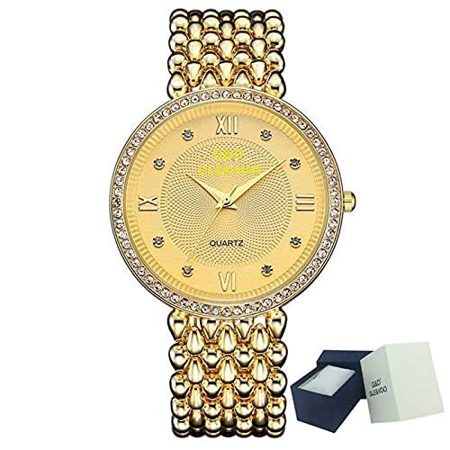 XQKXHZ Reloj para Mujer con Diamantes y Brazalete Metal, Relojes Cuarzo Analógicos de Moda,Cronometraje Preciso, para Reunión Familiar Festival, Gold 2