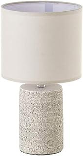Lámpara de mesita de noche grabada shabby chic de cemento gris de Ø 18x33 cm - LOLAhome
