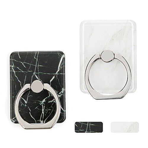 Bangue Support Marbre 360 Degrés Rotation - Boucle Support Convient pour Tous les Téléphones Mobiles (Inclure iPhone 5/5SE /6S Plus/7 Plus, Samsung Galaxy S6/S7/S8) - BLANC + NOIR