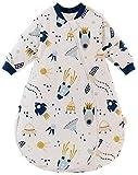 Chilsuessy Baby Schlafsack mit abnembar Ärmel Kinder Winter schlafsack 2.5 Tog aus Reine Baumwolle Ganzjahres Schlafsäcke Schlafanzug für Jungen Mädchen, Raumschiff, 90/Baby Höhe 75-85cm