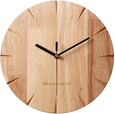 Fengfeng Wall Clock, Creative Wooden Wall Charts Clocks Modern Minimalist Wall Bell Living Room Bedroom
