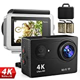 4K Action Kamera Sport Actioncam Wasserdicht - Helmkamera mit 2.4G Fernbedienung WiFi Ultra HD 12MP...
