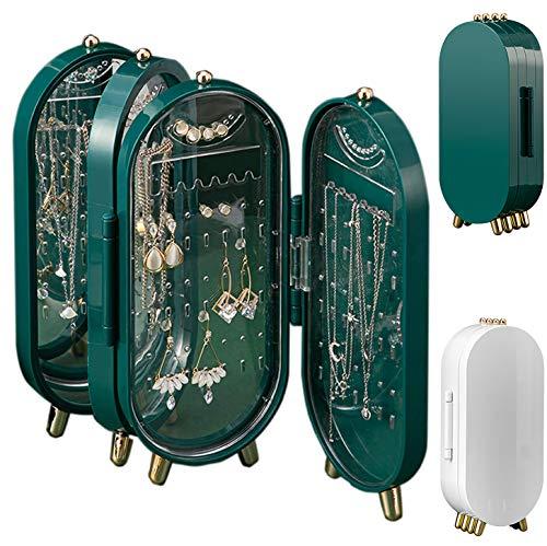 Chagoo Organizador de caja de joyería plegable para mujeres, soporte de almacenamiento de collar de anillo de pendiente portátil con espejo de maquillaje para viajes a casa (Blanco perla * 2)