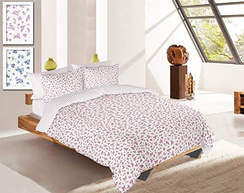 R.P. Provence Cannes Violet Winterdekbed voor tweepersoonsbed met bloemenprint, 100% katoen, extra 1 bed, eenpersoonsbed, roze antiek