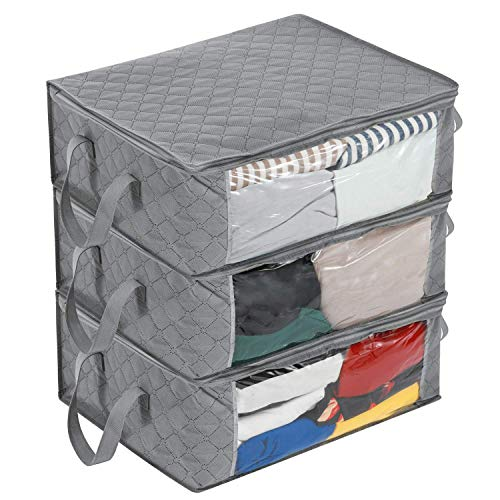 MaidMAX Large Capacity Zipper Storage Bag for Blanket, Clothes, Bedding, Comforter, Closet Underbed Organizer, Space Saver Bag, Large Clear Window and Carry Handles, 3 Packs, 19 x 14 x 8 inches, Grey