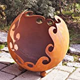 Edelrost Deko/Feuerkugel Ornament auf Standkugeln D30cm Gartendeko Pflanzgefäß