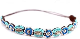 AKOAK Fashion Retro Style Handmade Crystal Rhinestone Beads Elastic Headband Hair Band Women Girls Hair Jewelry Accessories(#4)