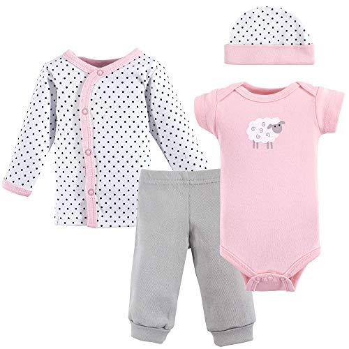 Luvable Friends Unisex Baby Cotton Preemie Layette Set, Pink Sheep, Preemie