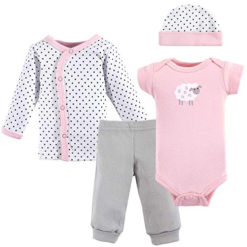Luvable Friends Unisex Baby Cotton Preemie Layette Set, Pink Sheep, Preemie