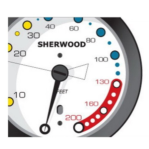 SHERWOOD SCUBA Analog 2 Gauge Console. Pressure (PSI) and Depth (Feet). Imperial Gauges.