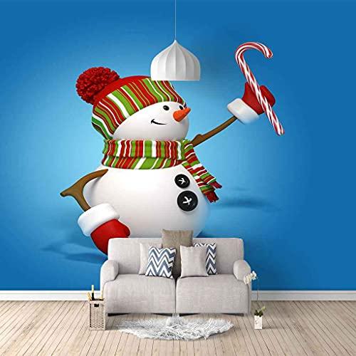 FVGKYS Papel Pintado Autoadhesivo Moderna Muñeco De Nieve Azul Navidad Papel Tapiz Sala De Estar Dormitorio Tv Sofá Fondo Pintura De Pared Decoración Del Hogar Murales Personalizado 3D 250x175cm