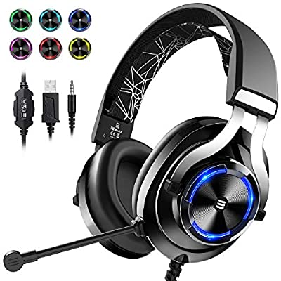 EKSA USB Gaming Headset PS4 Xbox One Headset with Noise Cancelling Mic & RGB Light - Gaming Headphones for PC, Laptop, Xbox One Controller (Adapter Not Included), Playstation 4, Electroplated