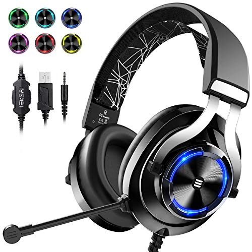 EKSA Gaming Headset PS4, 3,5mm Xbox One Headset mit Noise Cancelling Mikrofon, LED-Licht, Bass Surround Sound, 50mm Lautsprecher Treiber Kopfhörer für PC MAC Laptop IPad Smartphone (Schwarz)