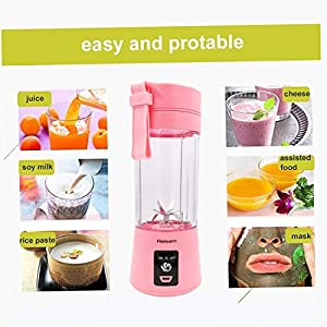 Mini Blender, Portable Electric Juicer Cup 380ML Personal Blender Smoothie Maker USB Rechargeable Fruit Juice Extractor and Mixer with 6PCS Blades for Home Office Outdoor (Pink)