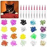 Firtink 400 tapas para uñas de gato, suaves, 20 colores, con adhesivo para mascotas, tamaño mediano con instrucciones
