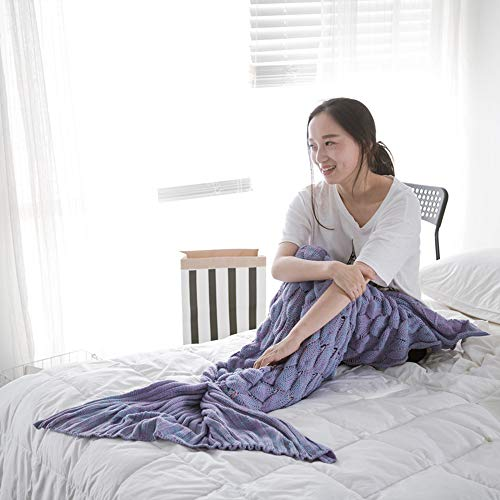 SANJIANG Mermaid Tail Blanket Adults,Handmade Knitting Pattern Mermaid Fishtail Blankets Soft Knitted Mermaid Tail Sleeping Bag for Women,Purple-90195cm