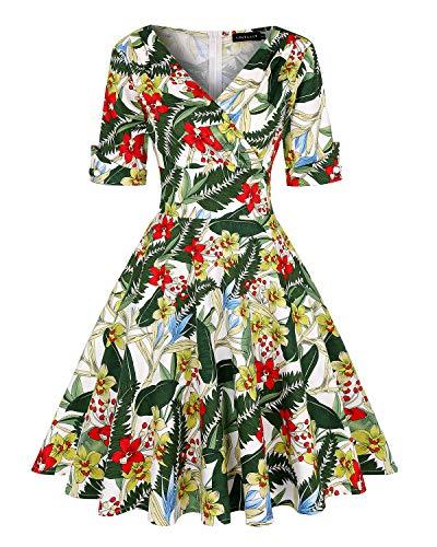 MINTLIMIT Women's 1950s Vintage Wrap Deep V Neck Half Sleeve Retro Cocktail Swing Dress