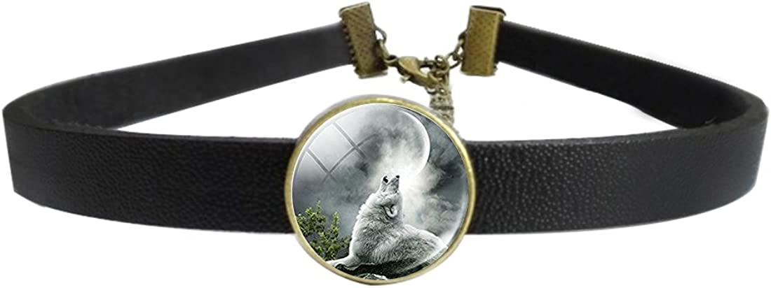 LooPoP Womens Gothic Leather Choker Collar Handmade Art Picture Wolf Punk Necklace with Glass Pendant Adjustable