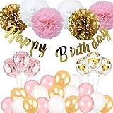 Birthday Decoration, Happy Birthday Banner, Tissue Flower, Confetti Balloons for 16th 18th 21st 30th 50th 60th Birthday Party Decoration for Women Girls