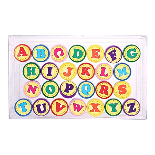 Letter Stamps for Classroom and Teachers, Luckybird Colorful Self Inking Plastic Alphabet Stamps for Kids, 26 Count