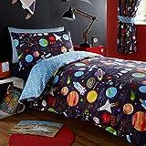 Kidz Club Juego de Funda de edredón de tamaño Individual y Fundas de Almohada para niñ, diseño de Planetas, Color Azul Oscuro