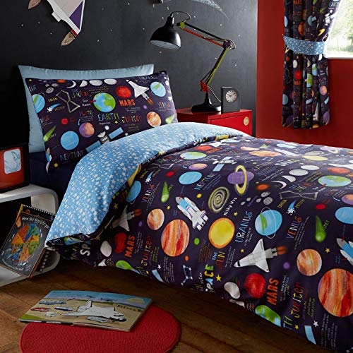 Kidz Club Planets Single Bed Duvet cover and Pillowcase Bed Set Bedding for Boy's Sun Mars and Moon, Dark Blue