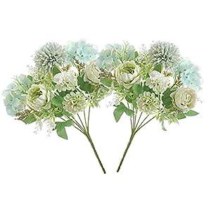LADADA Artificial Flower Bouquet with Peony Hydrangea Carnation, Fake Flower Arrangement, Wedding Decoration
