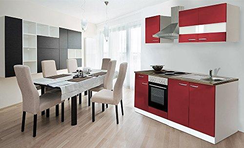 respekta Küche Küchenzeile Einbauküche 210 cm Weiß Front Rot Backofen KB210WR