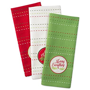 DII Cotton Christmas Holiday Dish Towels, 18x28 Set of 3, Decorative Oversized Embellished Kitchen Towels, Perfect Home and Kitchen Gift-Boughs of Holly