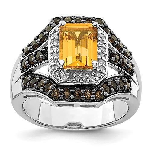 Plata de ley citrino y cuarzo ahumado y anillo de diamantes en bruto - tamaño N 1/2 - JewelryWeb
