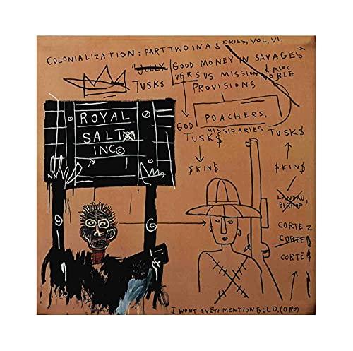 《Amorreos en Safari》 Jean-Michel Basquiat Cuadro en Lienzo| Lienzos Decorativos | Cuadros Decoración Dormitorios | Cuadros Decoración Salón (70x70cm (28x28inch), Sin marco)