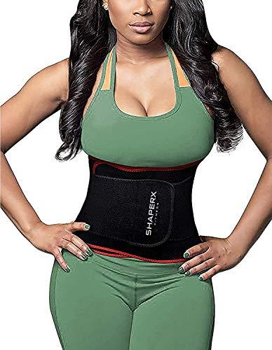 SHAPERX Damen/Männer Sport Gürtel, Waist Trainer Cincher Taillengürtel Slimming Verstellbar Taillenmieder Gürtel-Postpartum Gürtel,UK-DT8010-Red-S