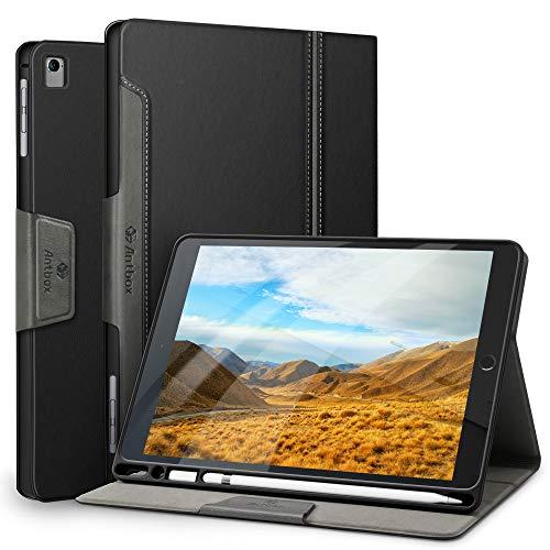 Antbox iPad Hülle für iPad Pro 9.7/ iPad Air/iPad Air 2 mit Apple Pencil Halter Auto Schlaf/Wach Funktion PU Ledertasche Schutzhülle Smart Cover (Schwarz)