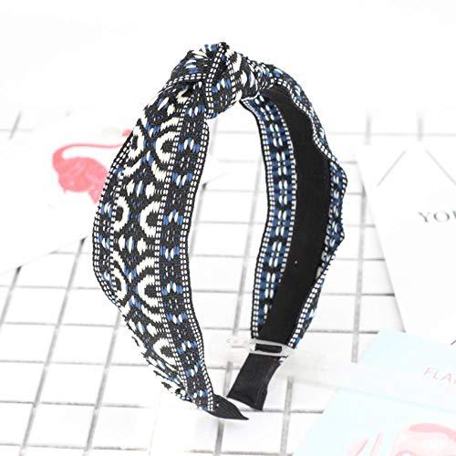 Empty Femmes Couleur Ethnique Broderie Bande de Cheveux Bowknot Bandeau Accessoires de Cheveux Sauvages Large épingle à Cheveux-Bleu