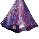 Aerial Yoga Hammock 5.5 Yards Premium Aerial Silk Fabric Yoga Swing for Antigravity Yoga Inversion Include Daisy Chain,Carabiner and Pose Guide (Starry Sky)