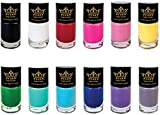 PUEEN Super Intense Nail Polish for Nail Stamping Nail Color Lacquer - Set of 12 Different Colors -BH000934