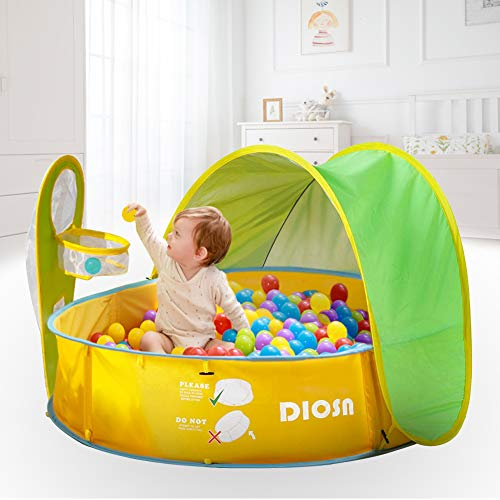 DIOSN Pop Up Baby Beach Tent and Pool Tent UV Protection Sun Shelters,Portable Kids Ball Pit Play Tent Indoor Outdoor Baby Paddling Pool Beach Canopy Tent Garden