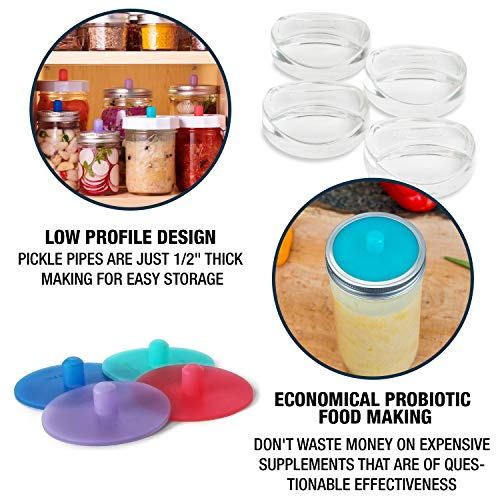 Masontops Pickle Pipes - Waterless Airlock Fermentation Lids - Wide Mouth Mason Jar Fermenter Cap - Premium Silicone Top