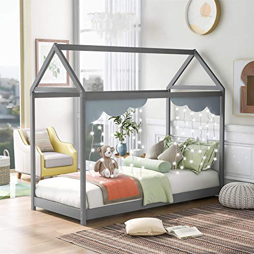 Bellemave Twin Size House Bed, Wooden Daybed, Floor Bed for Toddlers, Teens, Girls, Boys, Kids House Bed Frame Can Be Decorated (Gray) Grey