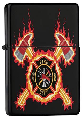 LEotiE SINCE 2004 Feuerzeug Schwarz Benzinfeuerzeug Sturmfeuerzeug Metallfeuerzeug Feuerwehr