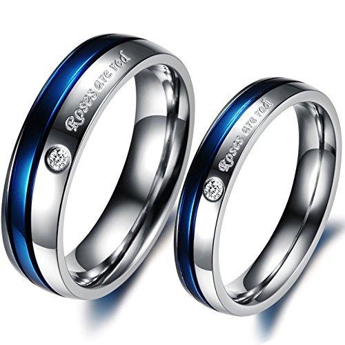 JewelryWe Schmuck 1 Paar Edelstahl Roses Are red Partnerringe Freundschaftsringe Eheringe Trauringe Verlobung Ringe Band, Blau Silber
