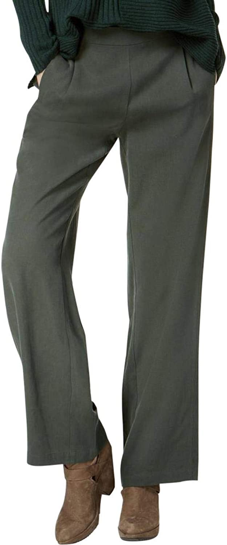 Eileen Fisher Womens Tencel Pleated Straight Leg Pants Green XS